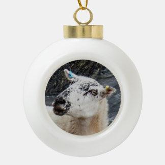 South Devon Coast Sheep On Rocks Looking Ceramic Ball Christmas Ornament
