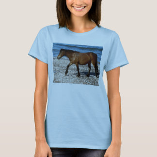 South Devon Dartmoor Pony Waiking On Remote Beach T-Shirt