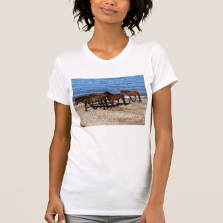 South Devon Four Dartmoor Ponies On Remote Beach T-Shirt