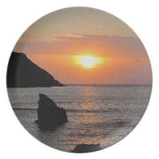 South Devon Hope Cove Autunm sunset .1 Plate