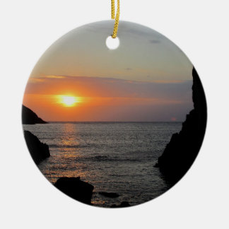 South Devon Hope Cove Autunm Sunset Round Ceramic Decoration