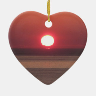 South Devon Noss Mato Winter Sunset Ceramic Heart Decoration