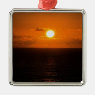 South Devon of Gara Rock autunm sunset Silver-Colored Square Decoration