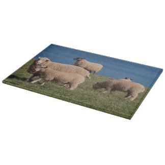 South Devon Sheep And Lambs Grazing On Coastline Cutting Board