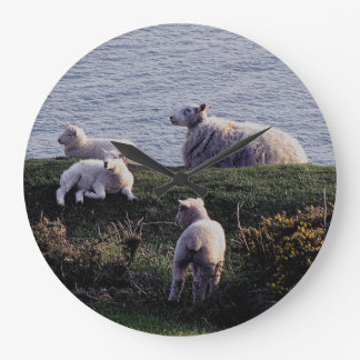 South Devon Sheep And Lambs On Remote Coastline Large Clock