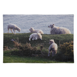 South Devon Sheep And Lambs On Remote Coastline Placemat