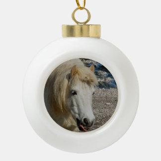 South Devon Shetland Pony Walking On Beach Ceramic Ball Christmas Ornament
