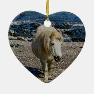 South Devon Shetland Pony Walking On Remote Beach Ceramic Heart Decoration