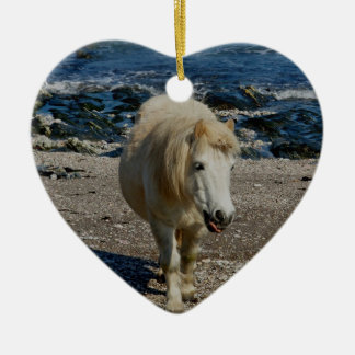 South Devon Shetland Pony Walking On Remote Beach Christmas Ornament
