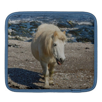 South Devon Shetland Pony Walking On Remote Beach iPad Sleeve