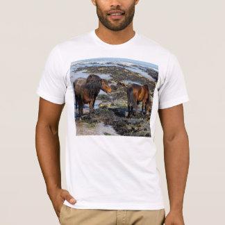 South Devon Three Dartmoor Ponies Enjoying Beach T-Shirt