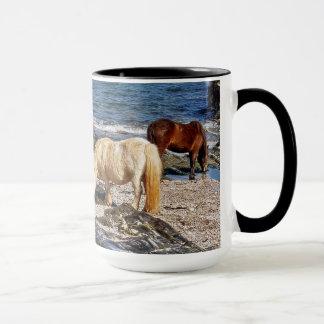South Devon Three Shetland Ponies On Beach Mug