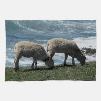 South Devon Two Lambs Grazeing On Wild Coastline Tea Towel