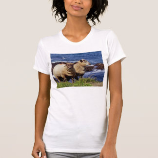 South Devon Two Lambs On Coast Path Cliff Edge T-Shirt