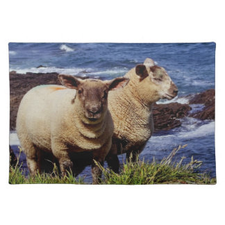 South Devon Two Lambs On Coast Path On Cliff Edge Placemat
