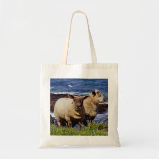 South Devon Two Lambs On Coast Path On Cliff Edge Tote Bag