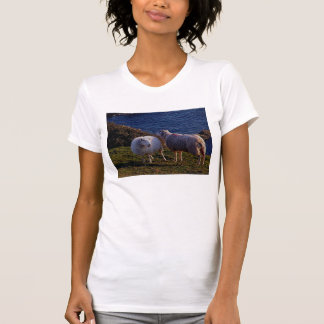 South Devon Two Sheep On Remote Coastline T-Shirt