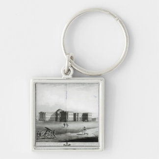 South East View of the New Government House Silver-Colored Square Key Ring