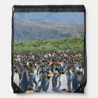 South Georgia. Salisbury Plain. King penguins 3 Drawstring Bag