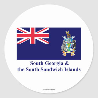 South Georgia & the South Sandwich Islands Flag Round Sticker
