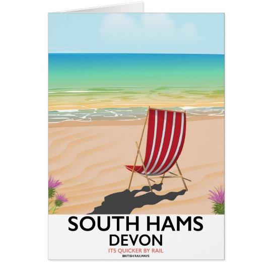 South Hams Devon beach poster Card