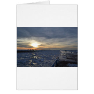 South Haven Lighthouse Sunset Greeting Card