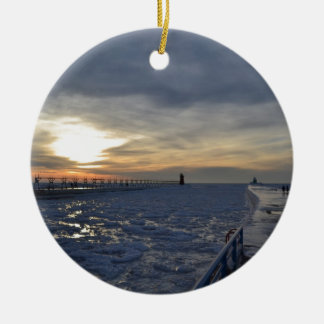 South Haven Lighthouse Sunset Christmas Ornament