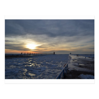 South Haven Lighthouse Sunset Postcard