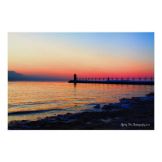 "South Haven, Michigan Lighthouse 36""X24"" Poster"