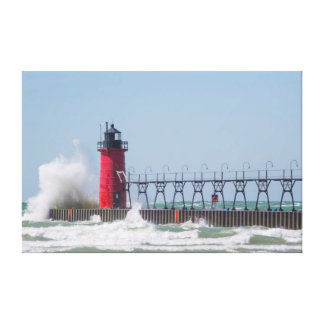South Haven, Michigan Lighthouse Stretched Canvas Prints