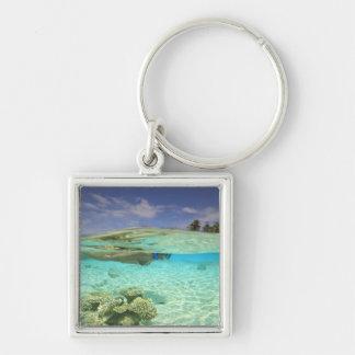 South Huvadhoo Atoll, Southern Maldives, Indian Silver-Colored Square Key Ring