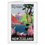 South Island New Zealand Travel Poster Greeting Card