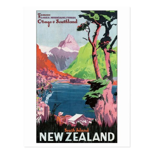 South Island New Zealand Travel Poster Postcards