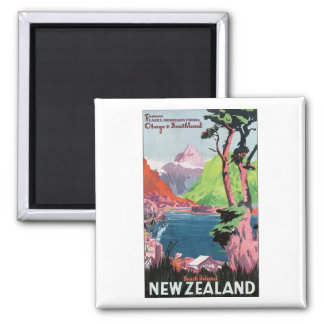 South Island New Zealand Travel Poster Square Magnet
