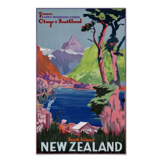 South Island New Zealand Vintage Poster Restored