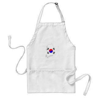 south korea country flag map shape silhouette standard apron