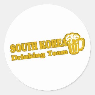 South Korea Drinking Team Classic Round Sticker