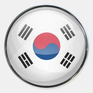 South Korea Flag Glass Ball Classic Round Sticker