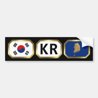 South Korea Flag Map Code Bumper Sticker