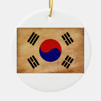 South Korea Flag Round Ceramic Decoration