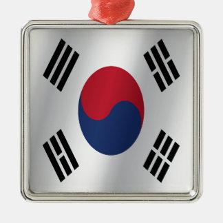 South Korea flag Silver-Colored Square Decoration