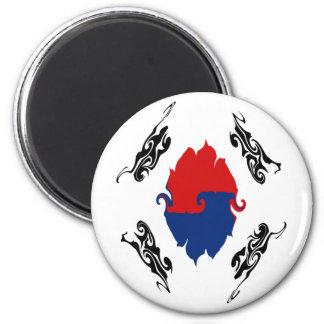 South Korea Gnarly Flag 6 Cm Round Magnet