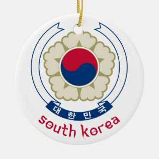 SOUTH KOREA - korean/asia/asian/emblem/flag Round Ceramic Decoration