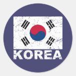 South Korea Vintage Flag Round Sticker