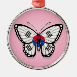 South Korean Butterfly Flag on Pink Christmas Ornament