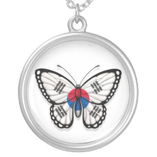 South Korean Butterfly Flag Silver Plated Necklace
