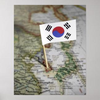 South Korean flag in map Poster