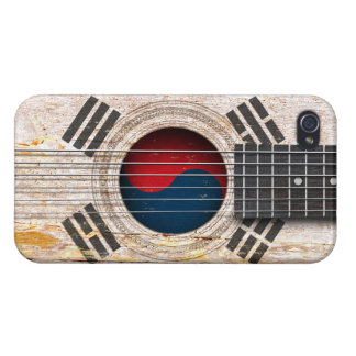 South Korean Flag on Old Acoustic Guitar Cases For iPhone 4