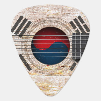 South Korean Flag on Old Acoustic Guitar Plectrum