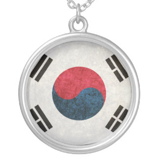 South Korean Flag Silver Plated Necklace